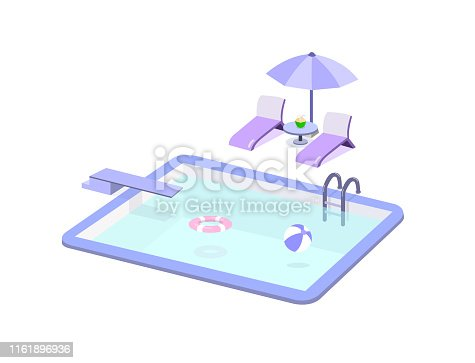 Swimming pool and pool chair set isolated on white background.