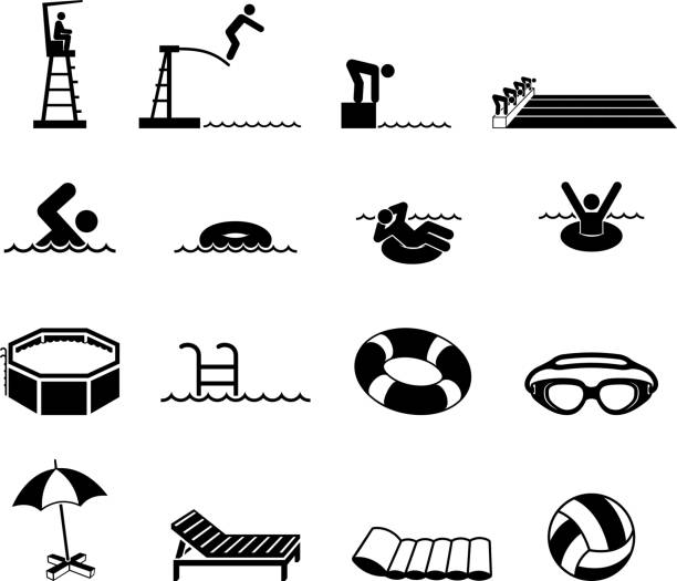 Swimming Pool and summer fun royalty free vector icon set Swimming Pool Black and white Set floating on water stock illustrations