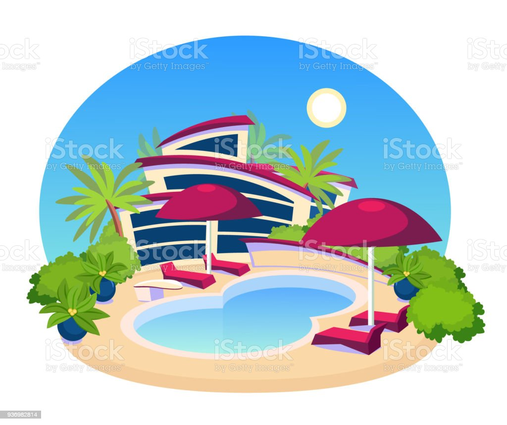 Piscine grande villa moderne design plat cliparts - Clipart piscine ...