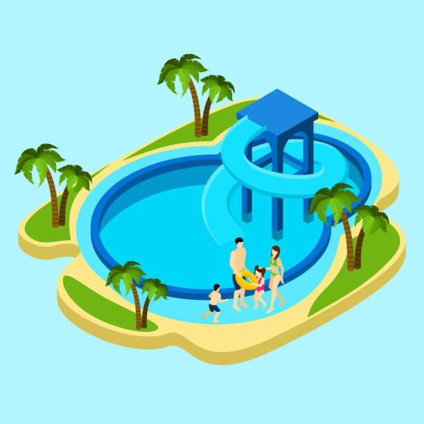 ilustrações, clipart, desenhos animados e ícones de família piscina iométrica - ícones de design planar