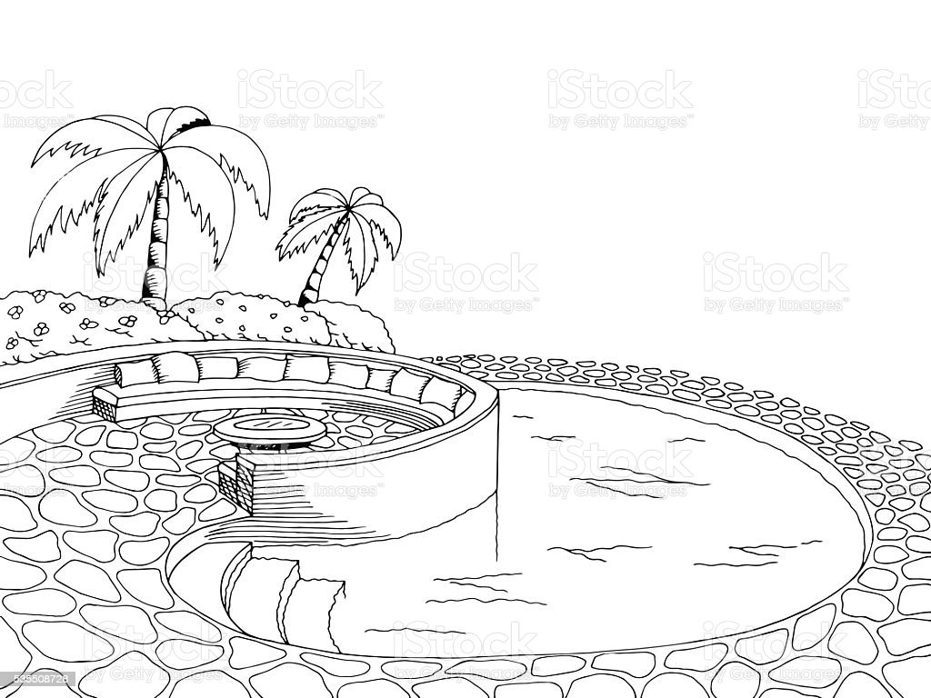 Swimming Pool Graphic Art Black White Illustration Vector Royalty Free