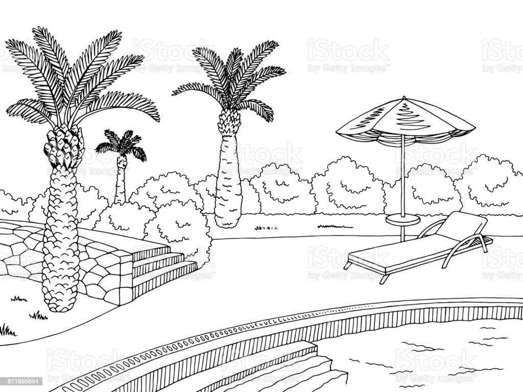 Swimming Pool Graphic Black White Landscape Sketch Illustration Vector Royalty Free