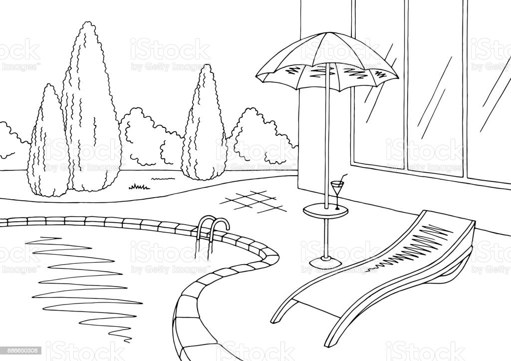 Swimming Pool Clipart Black And White Graphic Landscape Sketch Illustration Vector