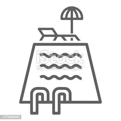istock Swimming pool icon. Gray vector isolated on a white background 1270590451