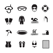 Swimming pool icons, Set of 16 editable filled, Simple clearly defined shapes in one color, Vector