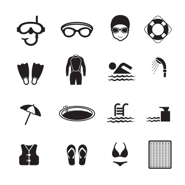 Swimming pool icons Swimming pool icons, Set of 16 editable filled, Simple clearly defined shapes in one color, Vector swimming goggles stock illustrations
