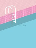 Swimming pool in vintage style. Old retro pink tiles and