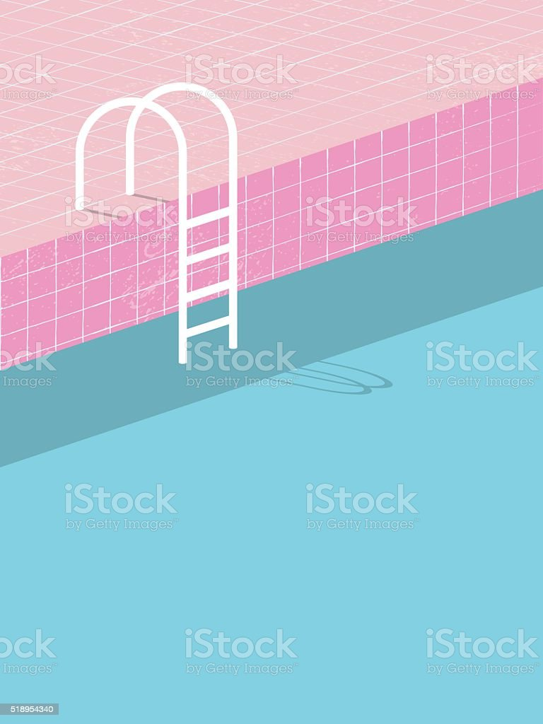 Swimming pool in vintage style. Old retro pink tiles and vector art illustration