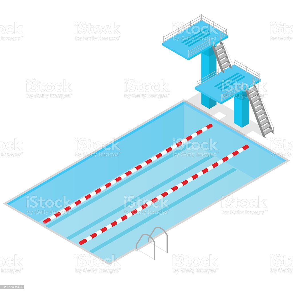Swimming Pool Isometric View Indoors Vector Stock Vector Art More