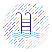 Line vector icon illustration of swimming pool with abstract lines background.