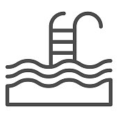 Swimming pool line icon. Water sport vector illustration isolated on white. Swim outline style design, designed for web and app. Eps 10