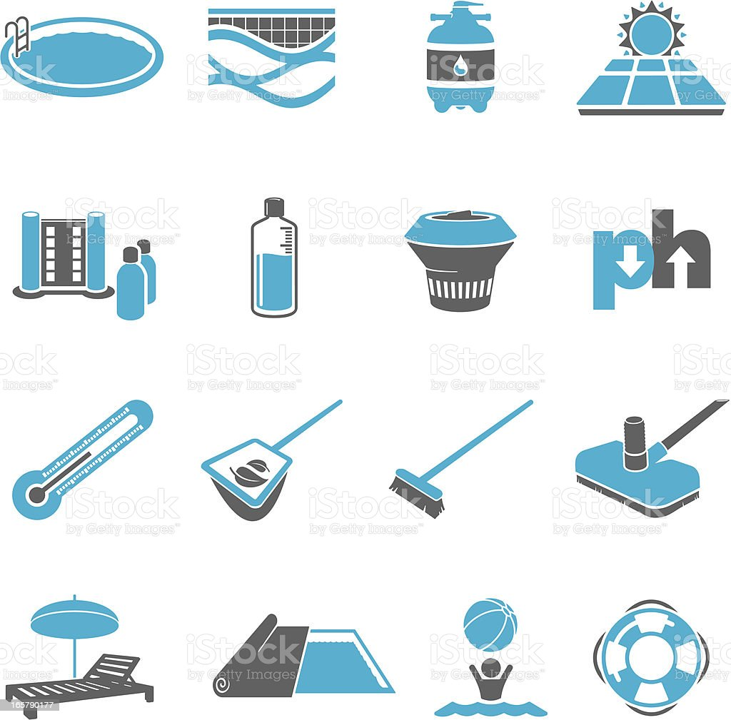 Swimming Pool Maintenance Icon Set vector art illustration