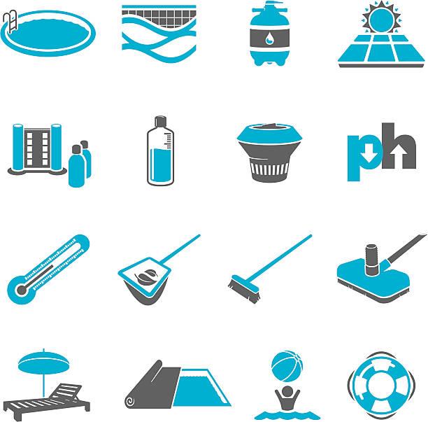 bildbanksillustrationer, clip art samt tecknat material och ikoner med swimming pool maintenance icon set - pool