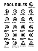 Swimming pool rules. Icons and symbol for pool.