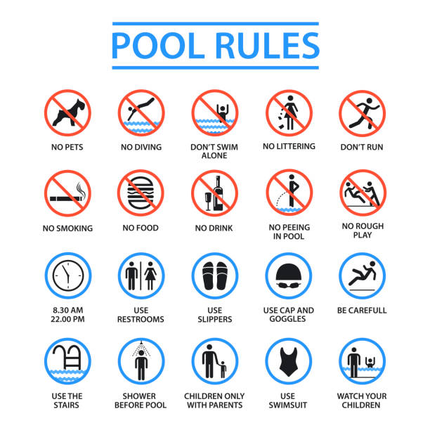 Swimming pool rules Swimming pool rules. Public and private pools rules to ensure health, safety and to provide enjoyable recreation. Vector flat style cartoon illustration isolated on white background rules stock illustrations