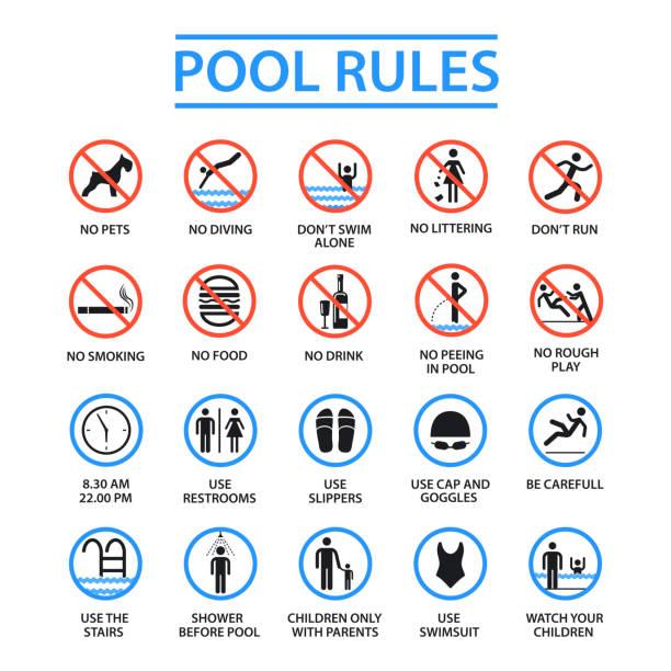 bildbanksillustrationer, clip art samt tecknat material och ikoner med poolen regler - pool