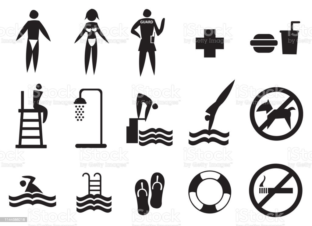Swimming Pool Signs Vector Icon Set Stock Illustration ...