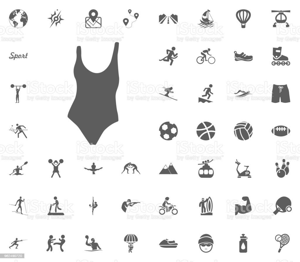Swimming pool suit icon. Sport illustration vector set icons. Set of 48 sport icons. - Royalty-free Archery stock vector