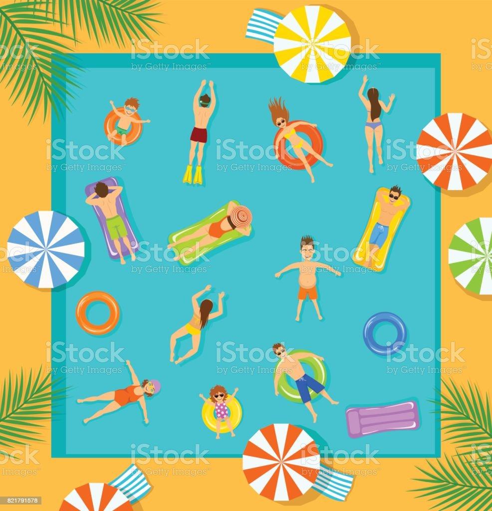 swimming pool top view beach summer time scene with people , men women children swimming, floating on inflatable mattress and rings vector art illustration