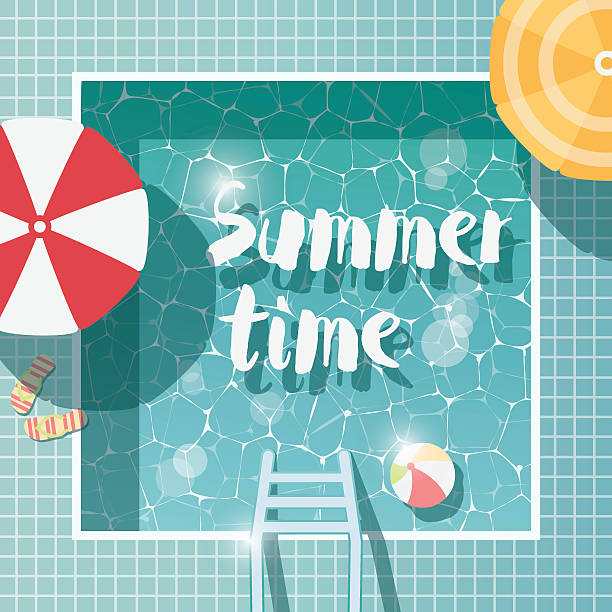 Swimming pool, top view, summer time holiday vacation, with parasols vector art illustration