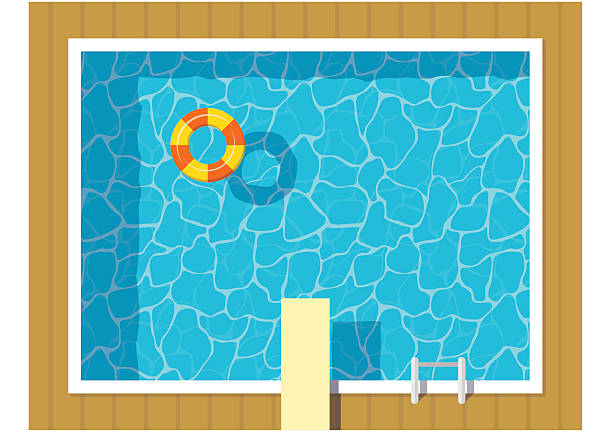swimming pool top view with inflatable ring and springboard jump. - 다이빙 보드 stock illustrations