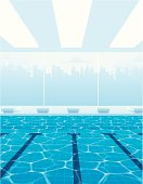 Vector illustration of Olympic-size swimming pool.