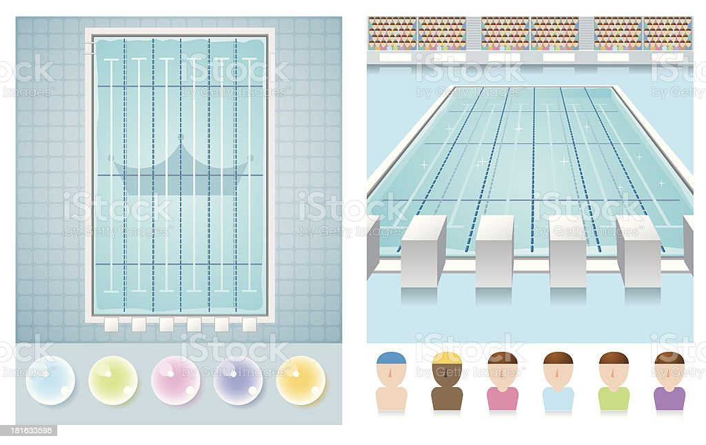swimming pool vector art illustration - Olympic Swimming Pool Diagram