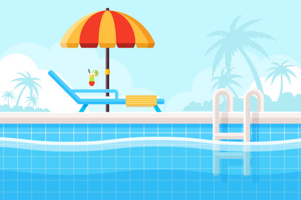 Swimming Pool Background with Swimming Pool, Parasol and Beach Chair. Flat Design Style. swimming pool stock illustrations