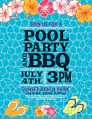 Swimming Pool Water Background With Pool Party Invitation On Top. Template have several layers for easier editing. Great for a pool, beach party or summer event. There are hibiscus flowers at the top and flip flop sandals at the bottom. Room for text in the center.