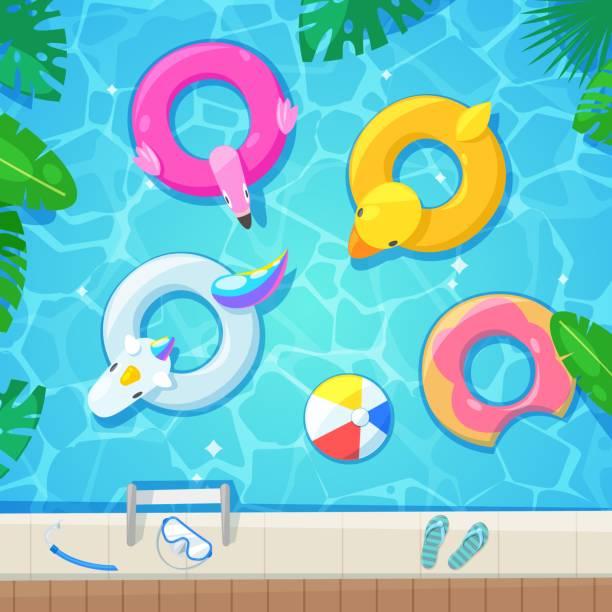 bildbanksillustrationer, clip art samt tecknat material och ikoner med pool med färgglada flöten, ovanifrån vektorillustration. barn uppblåsbara leksaker flamingo, anka, donut, unicorn. - pool