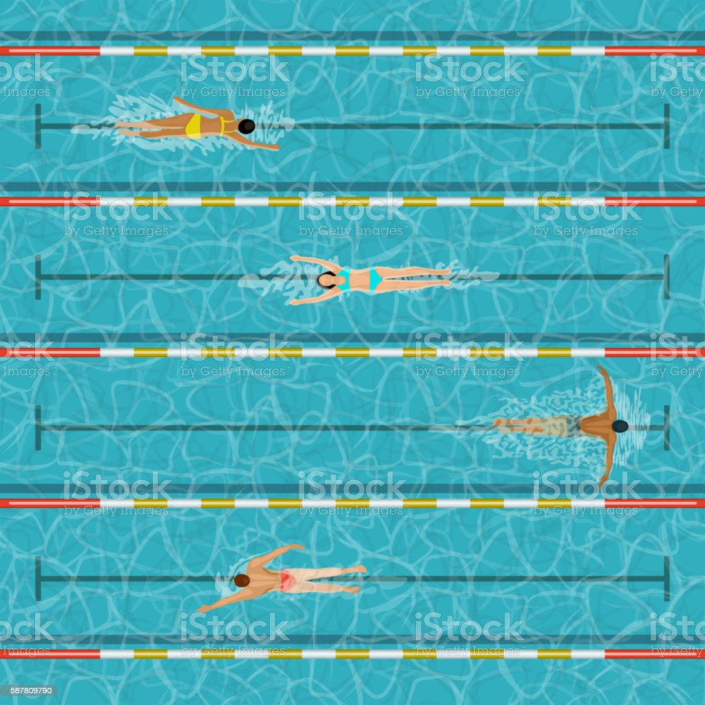 Swimming pool with people vector art illustration
