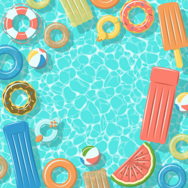 Swimming pool with rafts rubber rings top view Swimming pool from top view with colorful inflatable rubber rings, rafts, beach ball and life buoy summer stock illustrations