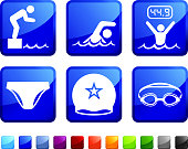 Swimming Race royalty free vector icon set stickers