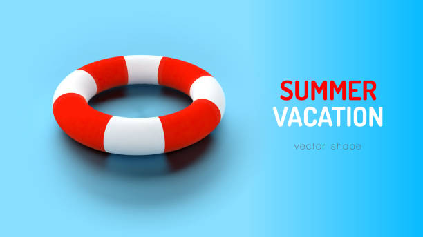 Swimming Ring Swimming ring on the blue background. Vector vacation layout. floating on water stock illustrations