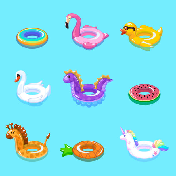 ilustrações de stock, clip art, desenhos animados e ícones de swimming rings. inflatable float buoy kid toys float ring lifebuoy rescue belt duck beach pool swim summer vacation - brinquedos na piscina