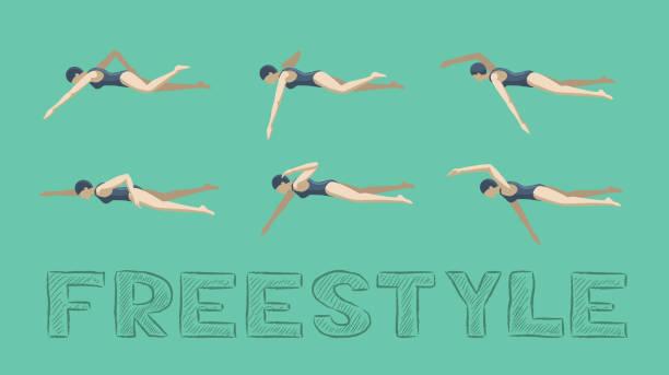 illustrations, cliparts, dessins animés et icônes de natation style freestyle motion sequence femme animation set - natation