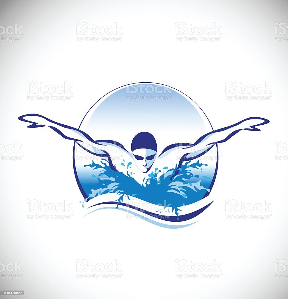 Swimming Swimmer Vector Concept vector art illustration