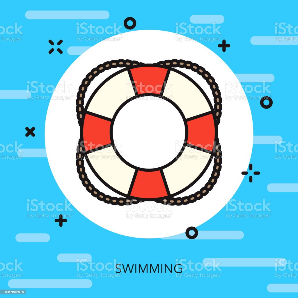 Swimming Thin Line Sports Icon vector art illustration