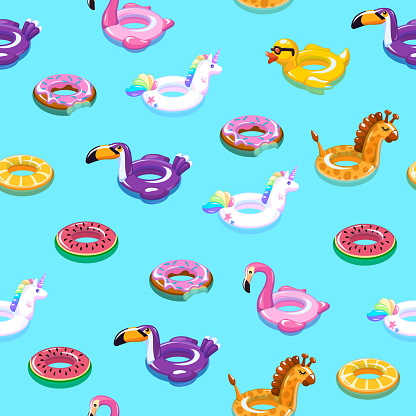 Swimming toys seamless pattern. Pool floating summer inflatable toy sea print float kid fashion textile print cartoon