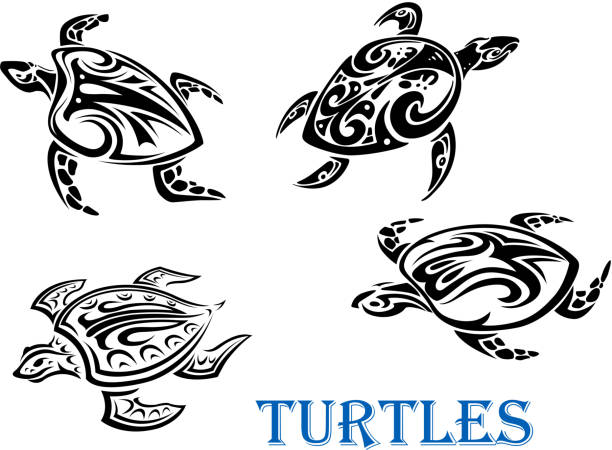 99 Silhouette Of A Tribal Turtle Tattoos Designs Illustrations