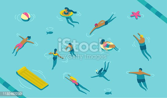 People swimming in pool or sea. Cartoon modern characters set. Flat vector illustration.