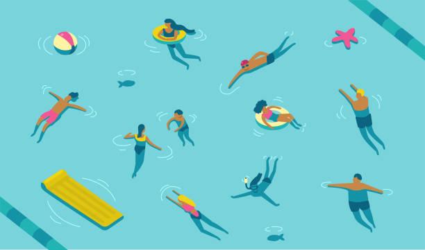 bildbanksillustrationer, clip art samt tecknat material och ikoner med simning - pool