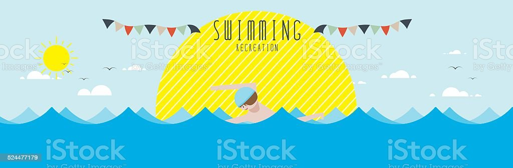 Swimming (Recreation) vector art illustration