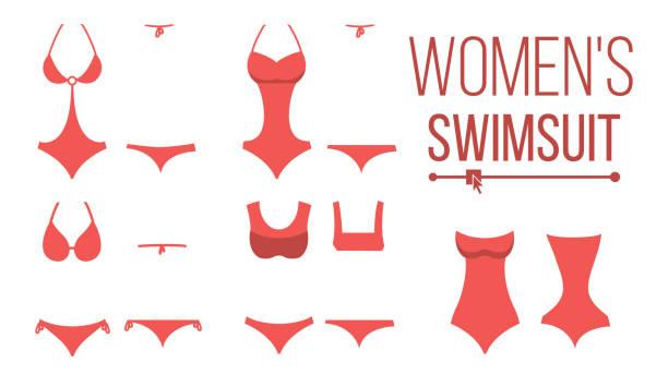 adddc50f3b9 Swimsuit Design Set Vector. Fashion Bikini. Summer Beach Clothing  Underwear. Female Stylish Swimwear