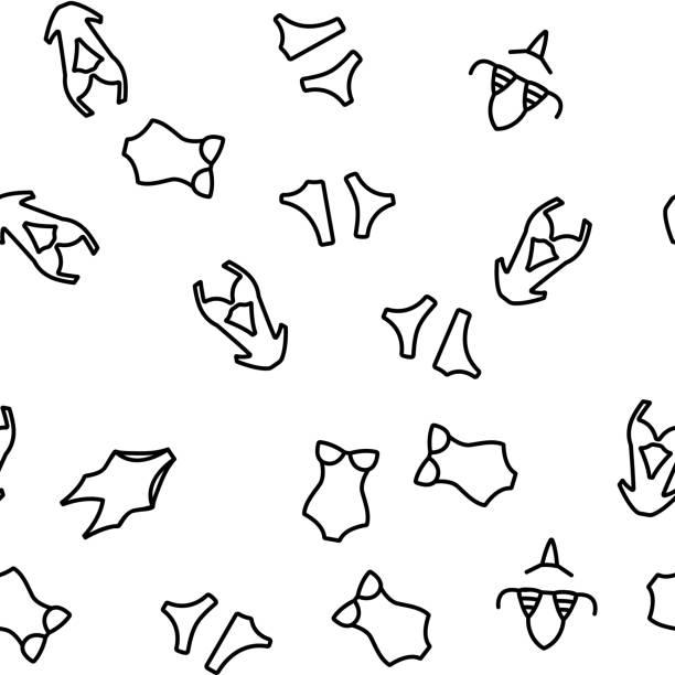stockillustraties, clipart, cartoons en iconen met badpak vrouw kleding vector naadloos patroon - verleiding