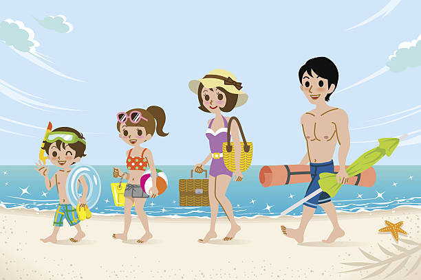 Swimsuits Family In The Beach Vector Art Illustration