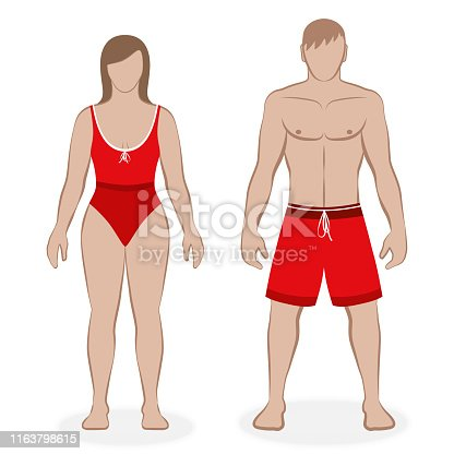 Swimwear couple with red swimsuit and boardshorts, matching outfit, partnerlook. Isolated vector illustration on white background.