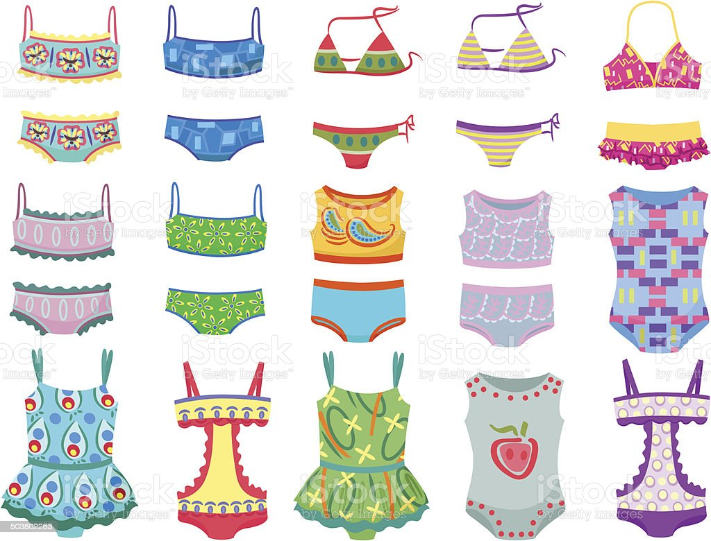 Swimwears für kleine Mädchen – Vektorgrafik