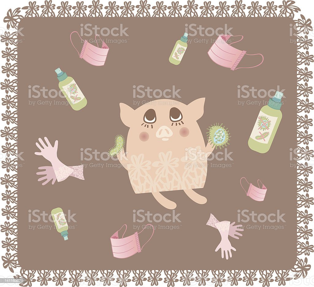 Swine Flu Influenza A H1N1 prevention royalty-free stock vector art