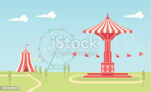 An illustrated scene of fairground on a bright day with a swing carousel, circus tent and ferris wheel. This is an easy to edit EPS 10 vector illustration with CMYK color space. Each element on the fairground is on a separate layer and can be easily edited.